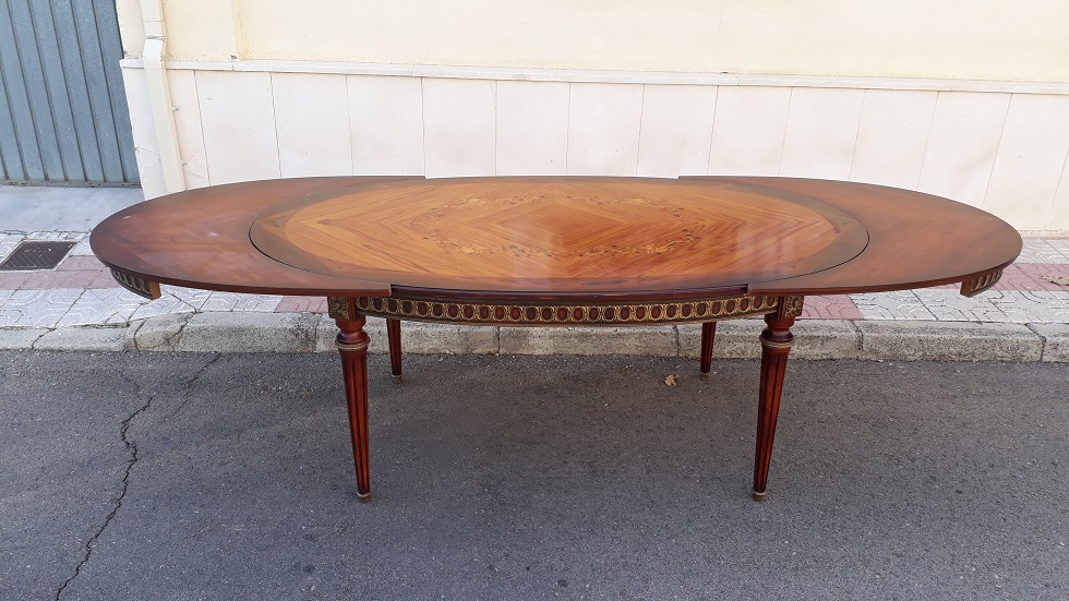 Mesa de salón comedor antigua estilo Luis XVI. Francia j.p. ehalt ...